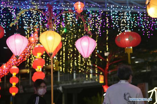 Colorful lights and lanterns light up to celebrate upcoming Lunar New Year in Singapore